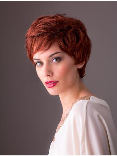 Monofilament Perruques 8 Ondule Rousse Courte Cheveux Synthetique Multicouche Monofilament Perruques Wigsis