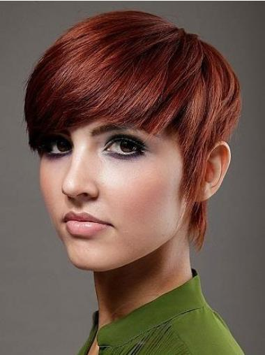"""Perruques Cheveux Humaines 6"""" En Stock Rouge"""