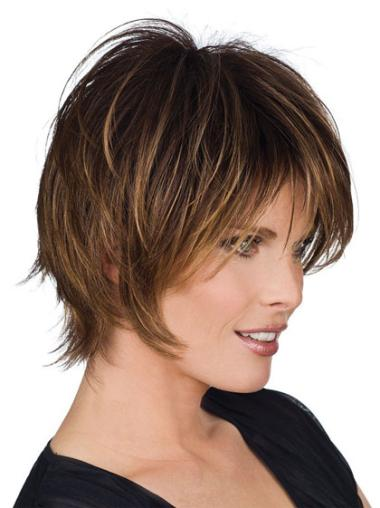 """Perruques Cheveux Humaines 8"""" Soyeuse Brune"""