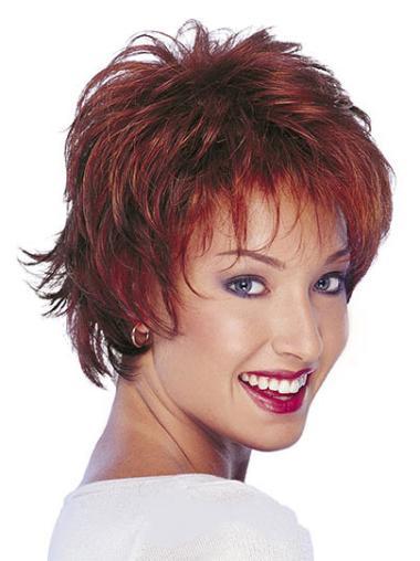 """Perruques Cheveux Humaines 10"""" Bon Marché Rouge"""