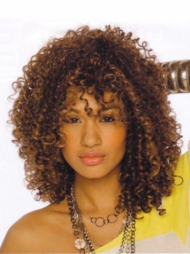 Perruques Afro-Americaines En Stock Brune Longueur d'Epaules Frisée