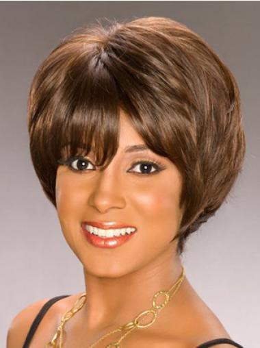 Perruques Afro-Americaines Splendide Brune Courte Ondulé