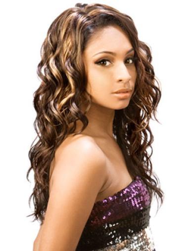 Perruques Afro-Americaines Parfaite Brune Longue Ondulé
