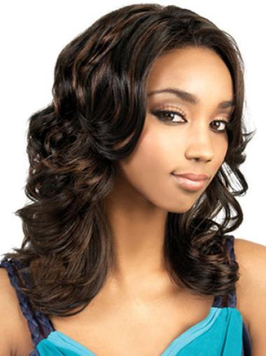 Perruques Afro-Americaines Souple Brune Longue Ondulé