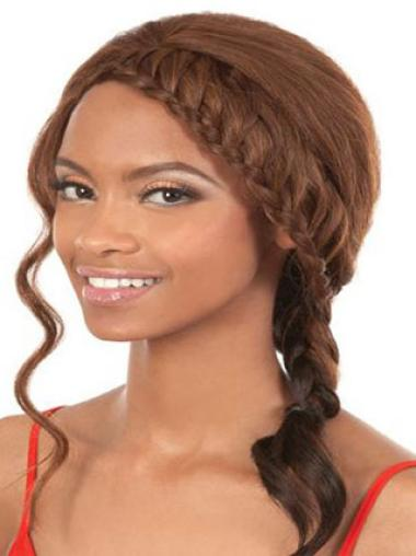 Perruques Afro-Americaines Soyeuse Brune Longueur d'Epaules Ondulé