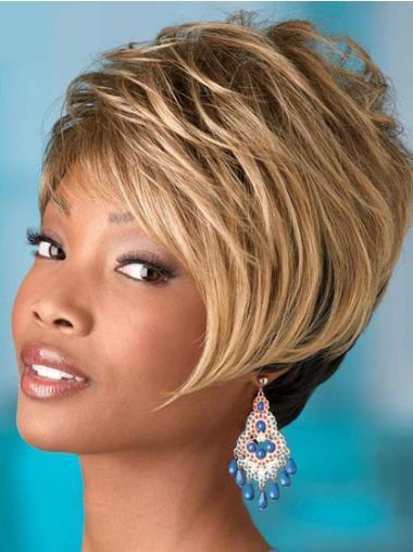 Perruques Afro-Americaines Flexible Blonde Courte Ondulé