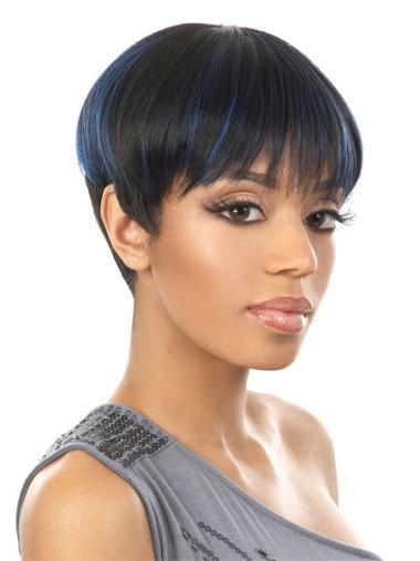 Perruques Afro-Americaines Belle Noir Courte Asymétrique Lisse