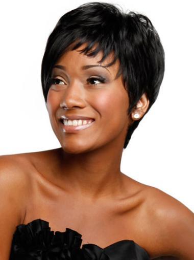 """Perruques Afro-Americaines Réduction Noir 4"""" Lisse"""