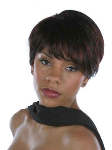 "Perruques Afro-Americaines Splendide Brune 6"" Lisse"