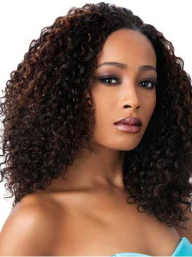 "Perruques Afro-Americaines Fashion Brune 16"" Frisée"