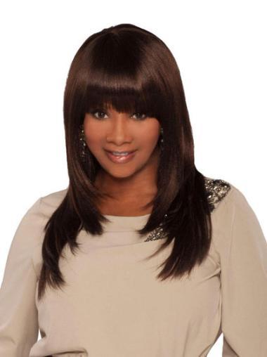 "Perruques Afro-Americaines Parfaite Brune 18"" Lisse"