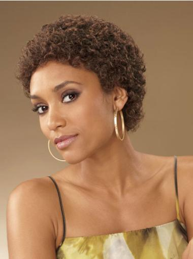 "Perruques Afro-Americaines Nouvelle Brune 4"" Frisée"