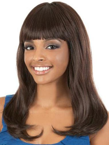 "Perruques Afro-Americaines Fabuleux Brune 18"" Lisse"