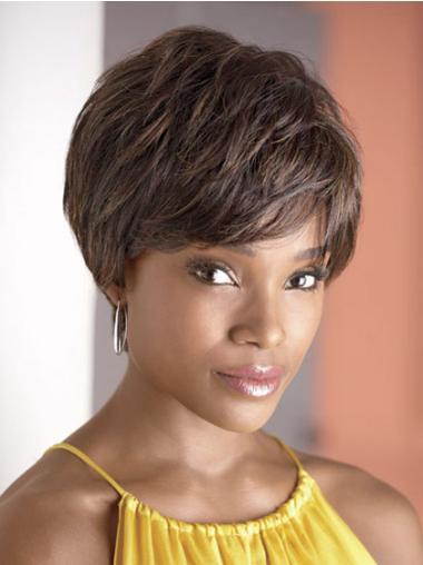 "Perruques Afro-Americaines à la mode Brune 4"" Ondulé"