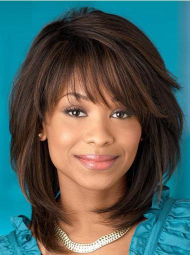"""Perruques Afro-Americaines Pratique Brune 12"""" Lisse"""