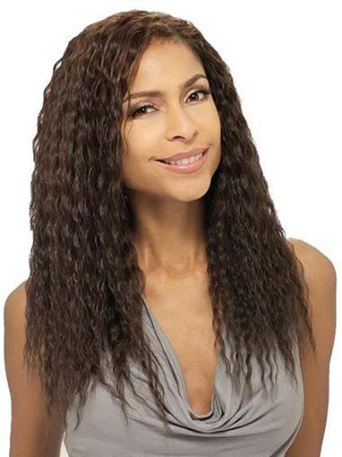 "Perruques Afro-Americaines Naturelle Brune 18"" Ondulé"
