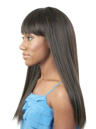 "Perruques Afro-Americaines Style Noir 20"" Lisse"