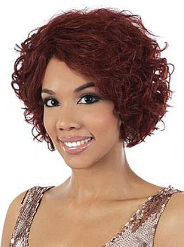 "Perruques Afro-Americaines Splendide Rouge 10"" Ondulé"