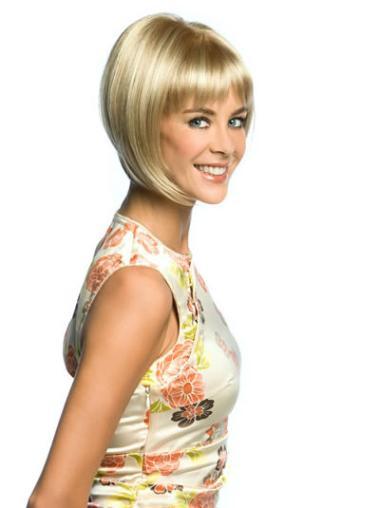 "Perruques Bob Populaire Blonde 8"" Lisse"