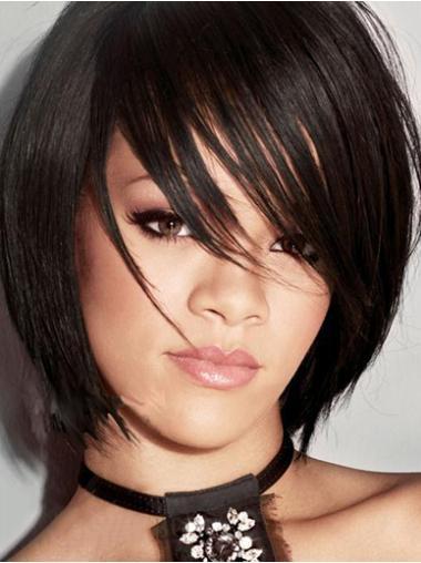 """Perruques Rihanna 8"""" Haute Qualité Noir"""