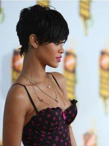 """Perruques Rihanna 6"""" Elégante Noir"""