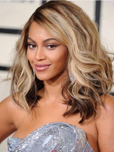 Perruques Beyoncé Naturelle Blonde Longueur d'Epaules Ondulé