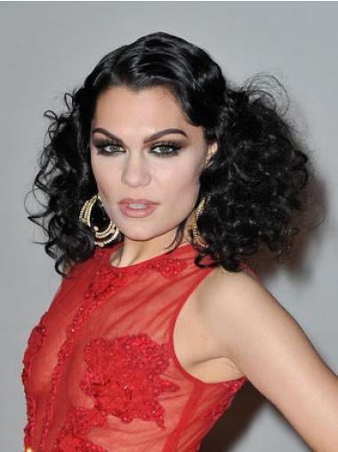 """Perruques Jessie J 16"""" Propre Noir"""