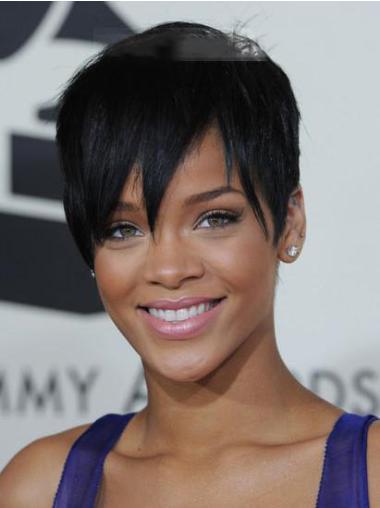 """Perruques Rihanna 5"""" Réduction Noir"""