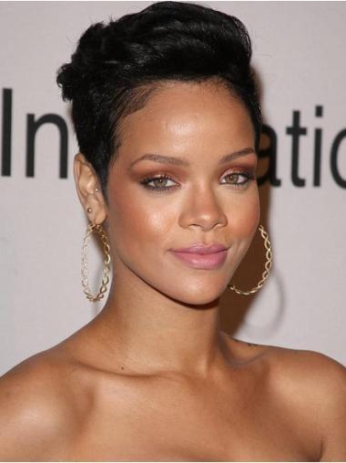 """Perruques Rihanna 4"""" Haute Qualité Noir"""