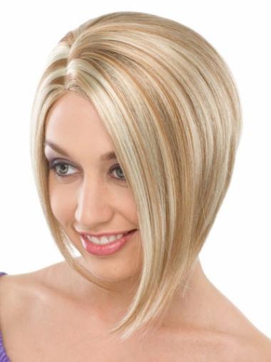 Perruques Bob Flexible Blonde Longueur de Menton Lisse