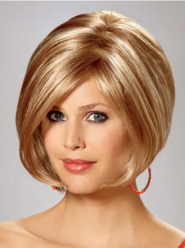 Perruques Bob Soyeuse Blonde Longueur de Menton Lisse