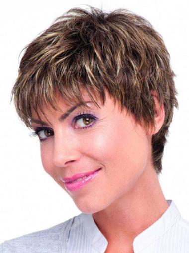 """Perruques Cheveux Humaines 6"""" Style Brune"""