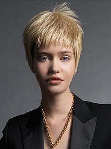 """Perruques Courtes 6"""" à la mode Blonde"""