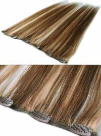 Extensions à Clip Cheveux Humains Brune Lisse