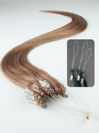 Cercle Micro Extensions de Cheveux Cheveux Humains Brune Lisse