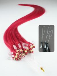 Cercle Micro Extensions de Cheveux Cheveux Humains Rouge Lisse