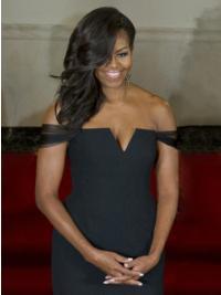 """Perruques Michelle Obama Sans Frange 16"""" 100% Fait à la main"""