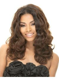 Perruques Afro-Americaines Invraisemblable Brune Longue Ondulé