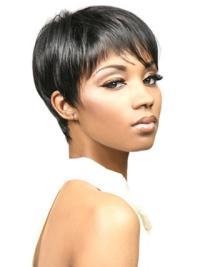 Perruques Afro-Americaines Fashion Noir Courte Asymétrique Lisse